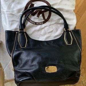 Michael Kors Black Leather purse with gold